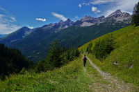 hiking in the lechtal alps near the stablalp, view to Hornbachkette, austria, tyrol