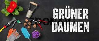 Garden tools on a dark background - Green thumb - Gruener Daumen (German)