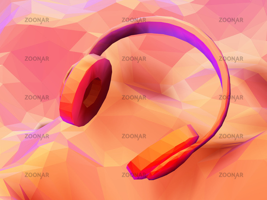 3D polygonal headphones on low poly landscape background.