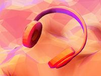 3D polygonal headphones on low poly landscape background.