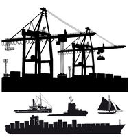 Port terminal with ships illustration