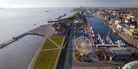 Panorama Havenworlds with Ferris wheel and New Harbour, Bremerhaven, Bremen, Germany, Europe