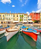 Lazise turquoise harbor and waterfront view, Lago di Garda