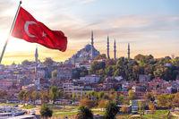 Suleymaniye mosque and the turkish flag, Istanbul, Turkey
