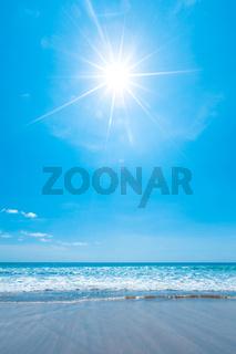 Sun over sea beach