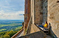 Tourist in Hohenzollern Castle in Germany