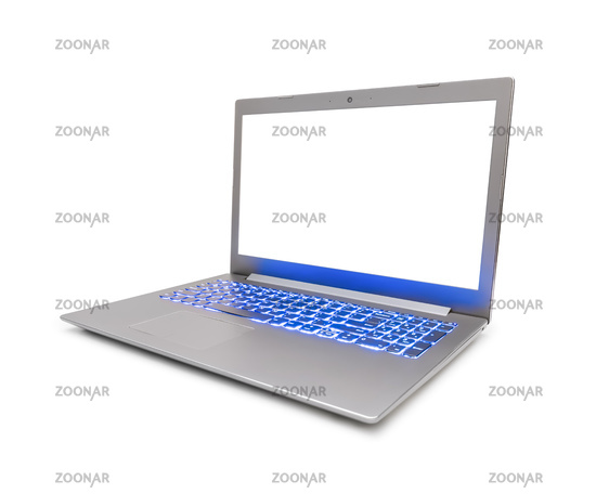 Notebook computer with blue keyboard backlight