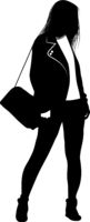 Silhouette of a girl with a bag on his shoulder