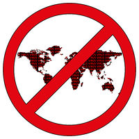 World map silhouette with the word virus in prohibitory sign