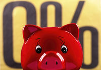 Red piggy bank with zero percent sign