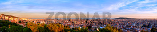 Panorama of Barcelona city at sunset, in Spain