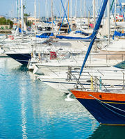 Yachts, masts, marina, Larnaca, Cyprus