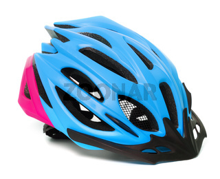 Multicolor bicycle helmet isolated on white