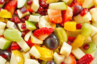 Fruit salad with many different cut fruits