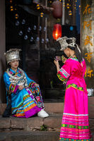 Chinese women in traditional folk costume