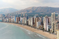 Benidorm aerial view cityscape during sunny day,  Spain