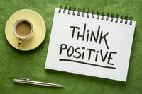 Think positive inspirational handwriting