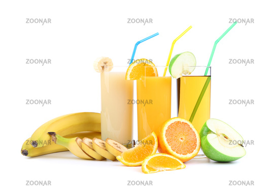 orange, apple and banana juice
