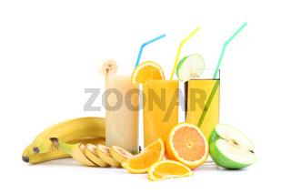 orange, apple and banana juice
