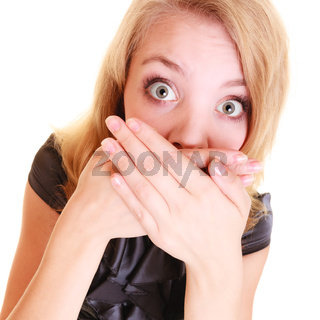 woman afraid buisnesswoman covers her mouth isolated
