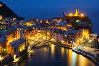 Vernazza village illuminated in the night, Cinque Terre, Liguria, Italy