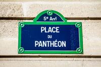 Place du Pantheon street sign, Paris, France