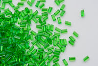 Close up of green transparent polymer resin
