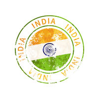 India sign, vintage grunge imprint with flag on white