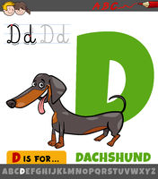 letter D worksheet with cartoon dachshund dog