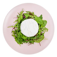 top view of soft cheese on greens on pink plate