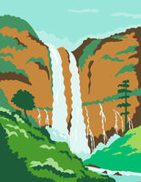 Maria Cristina Falls or Twin Falls Waterfall in Agus River Iligan City Philippines WPA Poster Art Color