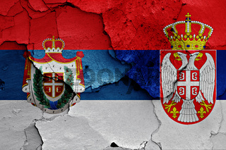 flags of traditional flag of AP Vojvodina and Serbia painted on cracked wall