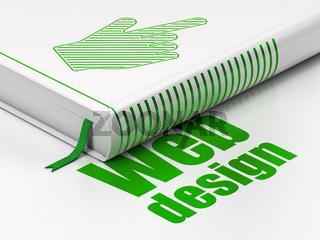 Web development concept: book Mouse Cursor, Web Design on white background