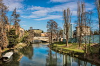 padua, italy - 19.03.2019 - picturesque idyll on the bacchiglione river