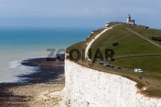 BEACHEY HEAD, SUSSEX/UK - MAY 11 :  The Belle Toute Lighthouse at Beachey Head in Sussex on May 11, 2011. Unidentified people.