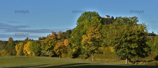 autumn landscape near the kornbühl, swabian alps, germany