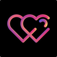 Two heart gradient liquid icon. 2 in love icon, symbol, illustration design.