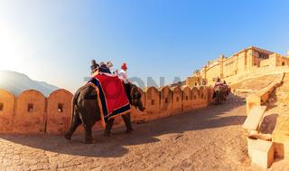 Amber Fort panorama: tourists on the elephants, Jaipur, India