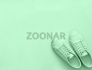 Green sneakers on green background, copy space
