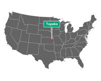 Topeka Ortsschild und Karte der USA - Topeka city limit sign and map of USA