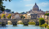View across the Tiber to St. Peter's Basilica from the Angel Bridge in Rome Lazio Italy