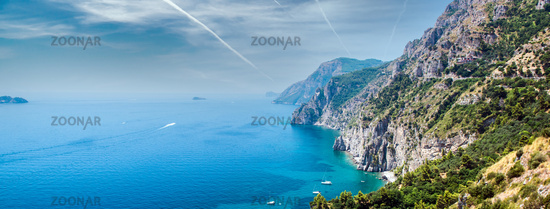 Panorama of Via Nastro Azzurro, Amalfi Coast. Italy