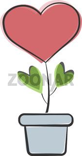 heart shaped plant or flower in flower pot vector illustration
