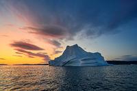 Greenland Ilulissat color glaciers sea ocean fjord at polar night