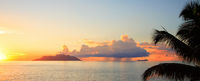 Island Silhouette and Island Nord seen from Island Mahé, Indian Ocean, Republic of Seychelles.
