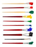 paint brushes with various colored tips in blots