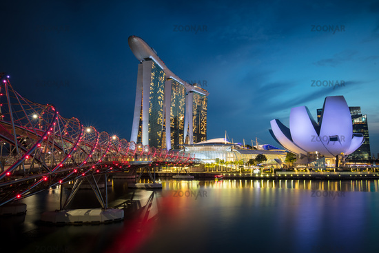 View around Marina Bay at Dusk