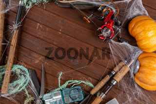 Fishing tacles on wooden background in Halloween designe with spaders and web