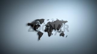 Black Worldmap on Blue Background