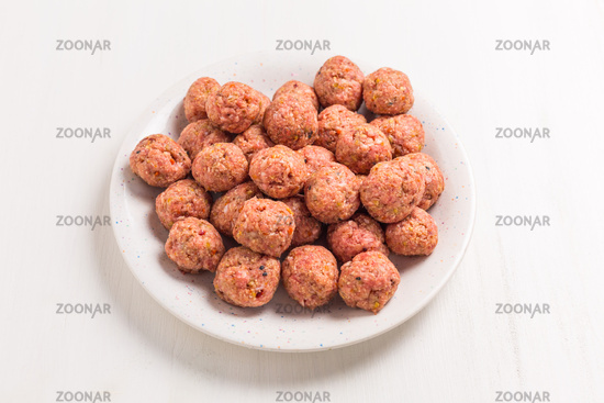 Raw meatballs on plate
